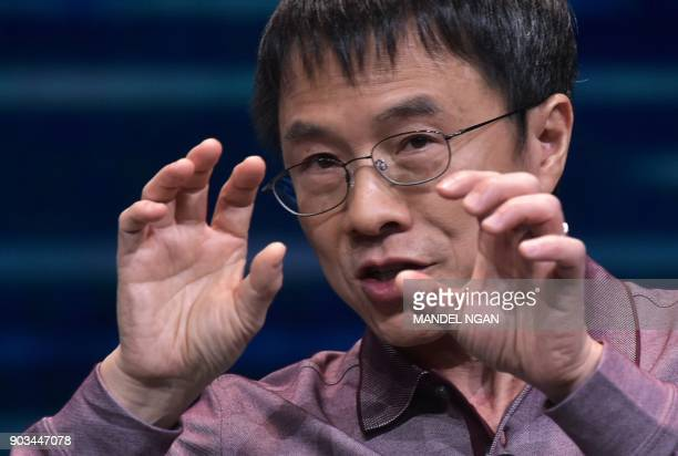 Baidu Vice Chairman Group President and COO Qi Lu speaks during a keynote discussion on 5G and mobile innovation during CES 2018 in Las Vegas on...