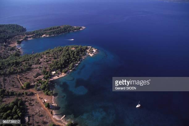 Baie de Zogeria, sur l'île de Spetses, en Grèce, le 21 septembre 1989.