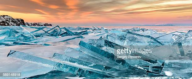 baikal ice - polar climate stock pictures, royalty-free photos & images