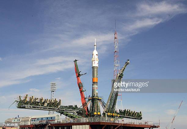 The Soyuz TMA9 rocket is installed on the launch pad at the Baikonur cosmodrome in Kazakhstan 16 September 2006 The flight of the world's first...