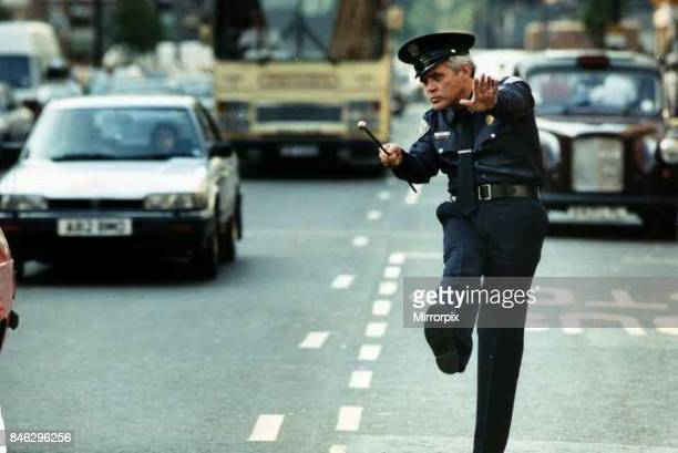 G W Bailey actor plays Captian Harris in Police Academy in London directing the traffic June 1989