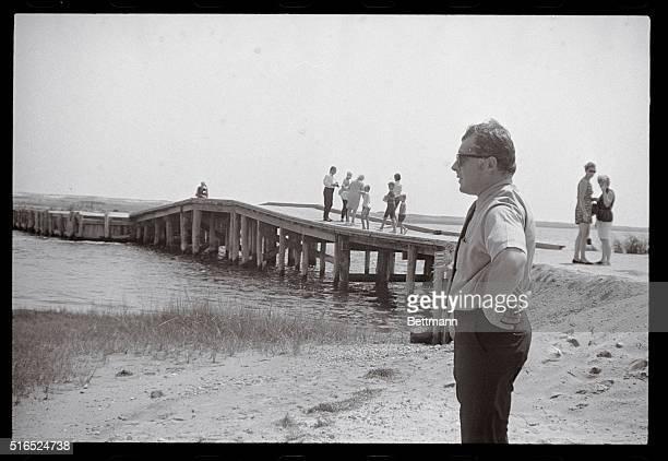Bailey at the Bridge Edgartown Massachusetts Famed Boston criminal lawyer F Lee Bailey views the scene at the Dike Bridge on nearby Chappaquiddick...