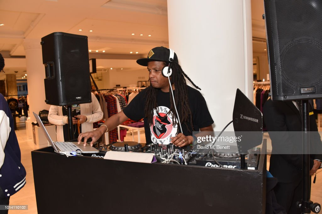 DJ Bailey attends the launch of 'Super Sharp Reloaded', a new installation and pop-up shop by Saul Milton and Tory Turk, presented by Selfridges and Reebok at Selfridges on August 9, 2018 in London, England.