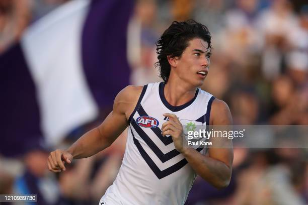 Bailey Banfield of the Dockers celebrates a goal during the 2020 Marsh Community Series AFL match between the West Coast Eagles and the Fremantle...