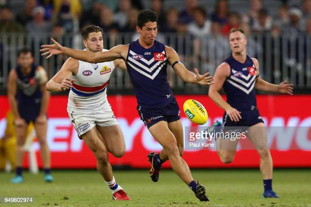 Bailey Banfield of the Dockers passes the ball during the round five AFL match between the Fremantle Dockers and the Western Bulldogs at Optus...
