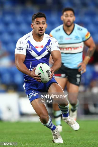 Bailey Biondi-Odo of the Bulldogs in action during the round 19 NRL match between the Canterbury Bulldogs and the Cronulla Sharks at Cbus Super...