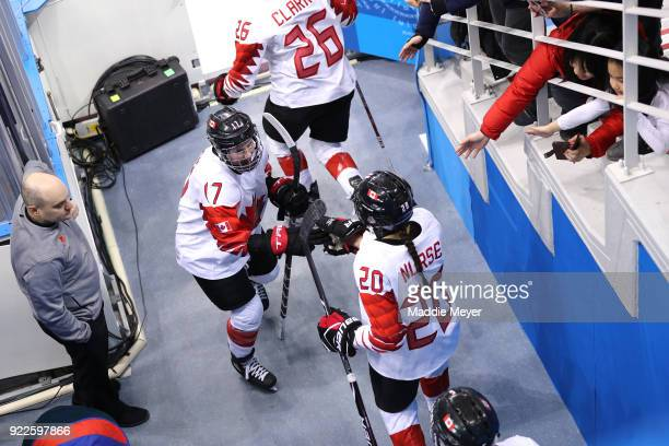 Bailey Bram and Sarah Nurse of Canada prepare to take the ice during the Women's Gold Medal Game against the United States on day thirteen of the...