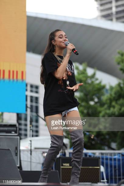 Bailey Bryan performs at the Chevy Breakout Stage on Day 4 of the CMA Music Festival on June 09 2019 in Nashville Tennessee
