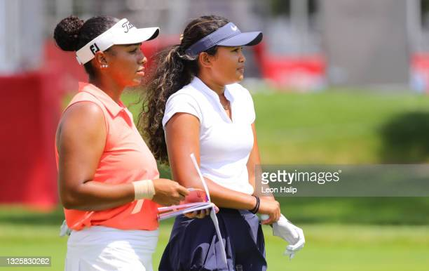 Bailey Davis and Amari Avery looks over their tee shots on the third hole during the John Shippen National Invitational prior to next week's Rocket...