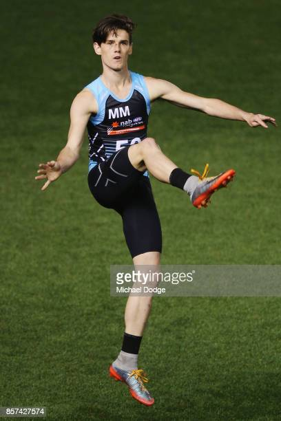 Bailey Henderson of Bendigo Pioneers kicks the ball during the AFLW Draft Combine at Etihad Stadium on October 4 2017 in Melbourne Australia