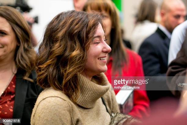 Bailey Lorencen a survivor of sexual abuse by Larry Nassar speaks to the media after the sentencing of disgraced doctor Larry Nassar in Ingham County...