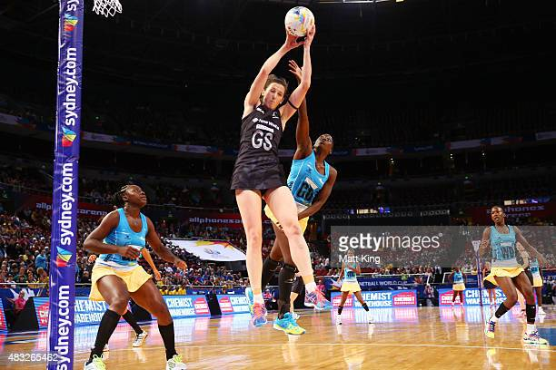 Bailey Mes of New Zealand is challenged by RheAnn Niles of Barbados during the 2015 Netball World Cup match between New Zealand and Barbados at...