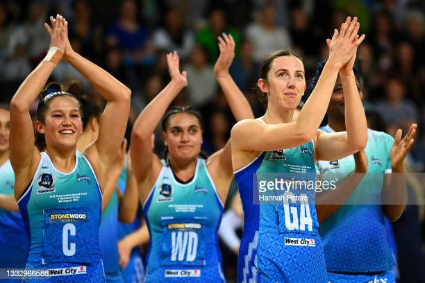 Bailey Mes of the Mystics celebrates after winning the ANZ Premiership Grand Final match between the Northern Mystics and the Tactix at Spark Arena...
