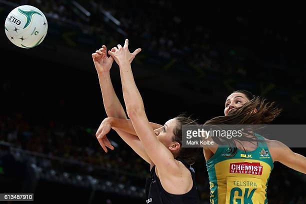 Bailey Mes of the Silver Ferns and Sharni Layton of the Diamonds compete for the ball during game 1 of the Constellation Cup International Test match...