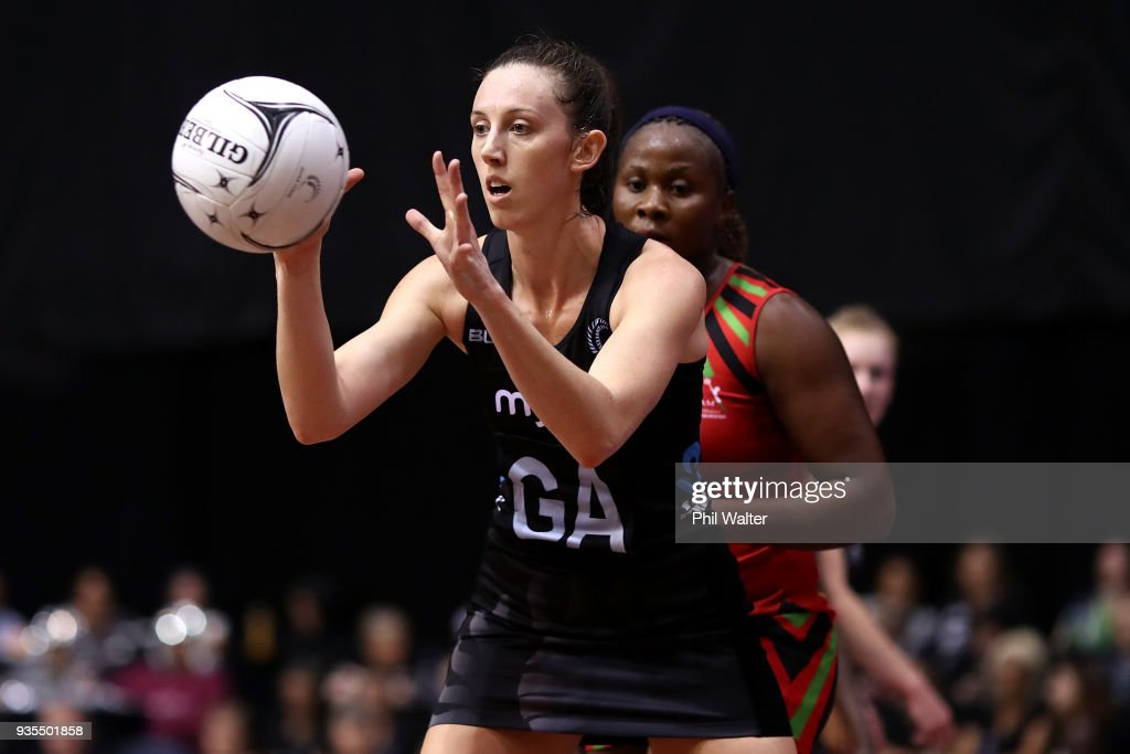 Bailey Mes of the Silver Ferns takes a pass during the Taini Jamison Trophy match between the New Zealand Silver Ferns and the Malawai Queens at North Shore Events Centre on March 21, 2018 in Auckland, New Zealand.