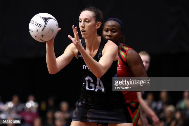 Bailey Mes of the Silver Ferns takes a pass during the Taini Jamison Trophy match between the New Zealand Silver Ferns and the Malawai Queens at...