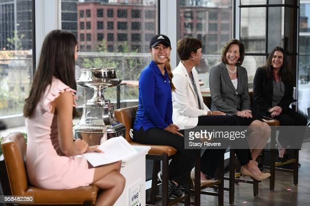Bailey Mosier of the Golf Channel Danielle Kang defending KPMG Women's PGA Champion Suzy Whaley Vice President PGA America Lynne Doughtie US Chairman...