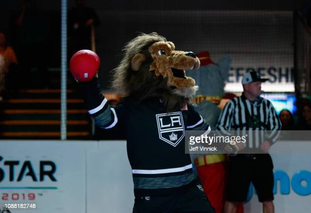 Bailey of the Los Angeles Kings participates in the 2019 NHL AllStar Mascot Showdown on January 24 2019 in San Jose California