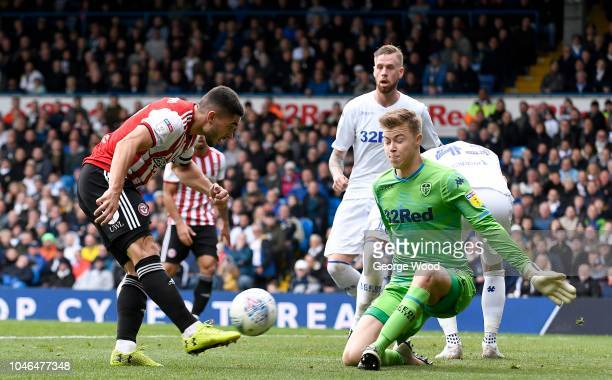 Bailey PeacockFarrell goalkeeper of Leeds United saves from Neal Maupay of Brentford during the Sky Bet Championship match between Leeds United and...