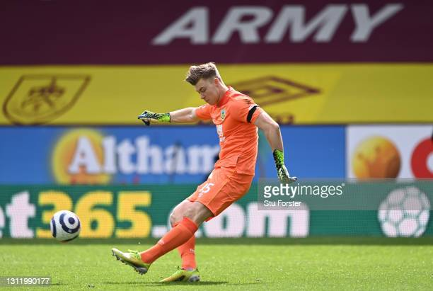 Bailey Peacock-Farrell of Burnley takes a goal kick during the Premier League match between Burnley and Newcastle United at Turf Moor on April 11,...