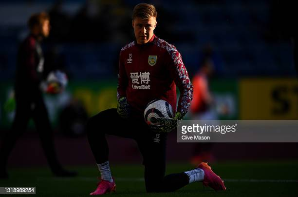 Bailey Peacock-Farrell of Burnley warms up prior to the Premier League match between Burnley and Liverpool at Turf Moor on May 19, 2021 in Burnley,...