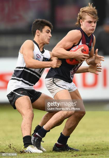 Bailey Smith of the Dragons is tackled during the round one TAC Cup match between Northern Knights and Sandringham at Frankston Oval on March 24 2018...