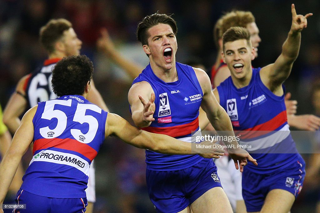 Bailey Williams of Footscray celebrates a goal during the VFL Grand Final match between the Casey Scorpions and the Footscray Bulldogs at Etihad Stadium on September 25, 2016 in Melbourne, Australia.