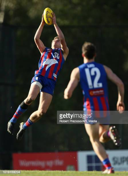 Bailey Wraith of Oakleigh Chargers marks during the TAC Cup round 15 match between Oakleigh Chargers and Sandringham Dragons at Avalon Airport Oval...