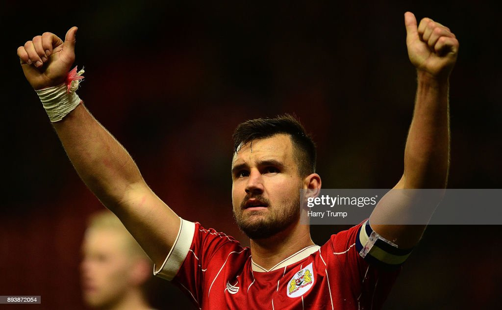 Bailey Wright, Captain of Bristol City celebrates his sides victory during the Sky Bet Championship match between Bristol City and Nottingham Forest at Ashton Gate on December 16, 2017 in Bristol, England.