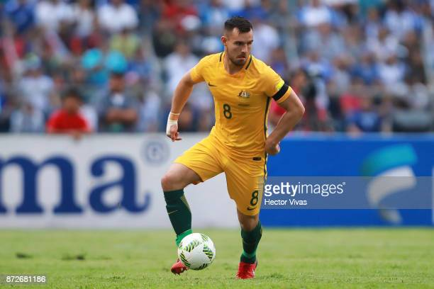 Bailey Wright of Australia drives the ball during a first leg match between Honduras and Australia as part of FIFA World Cup Qualifiers Play Off at...