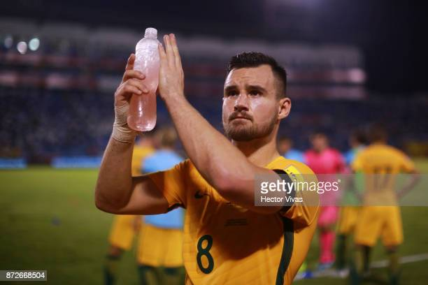 Bailey Wright of Australia greets the public after a first leg match between Honduras and Australia as part of FIFA World Cup Qualifiers Play Off at...