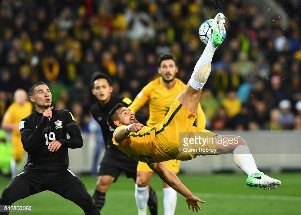 Bailey Wright of Australia kicks the ball during the 2018 FIFA World Cup Qualifier match between the Australian Socceroos and Thailand at AAMI Park...