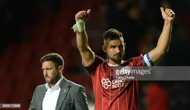 Bailey Wright of Bristol City and Bristol City manager Lee Johnson applauded the fans at the final whistle during the Sky Bet Championship match...