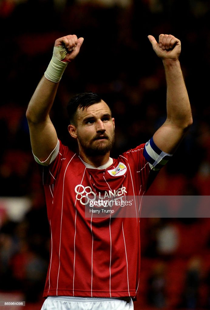 Bailey Wright of Bristol City celebrates after the Caraboa Cup Fourth Round match between Bristol City and Crystal Palace at Ashton Gate on October 24, 2017 in Bristol, England.