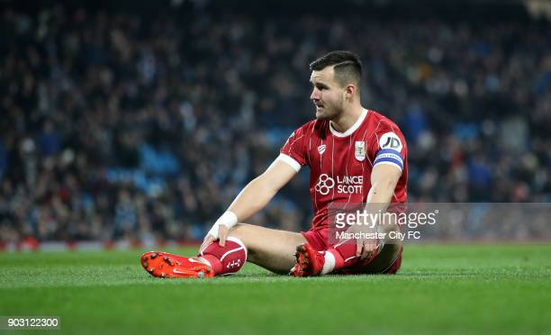 Bailey Wright of Bristol City during the Carabao Cup SemiFinal First Leg between Manchester City and Brostol City at Etihad Stadium on January 9 2018...