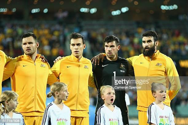 Bailey Wright Trent Sainsbury Mathew Ryan and Mile Jedinak of Australia sing the Australian national anthem during the 2018 FIFA World Cup...