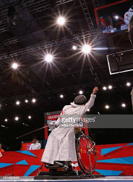 Baili Wu of China competes during the Women's Team Wheelchair Fencing on day 9 of the London 2012 Paralympic Games at ExCel on September 7 2012 in...