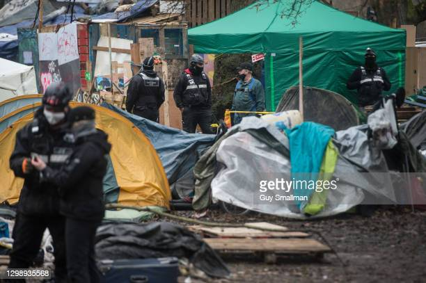 Bailiffs inside the protest camp on January 27, 2021 in London, England. The eviction came after protesters revealed to press that they'd built a...