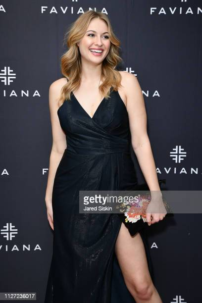 Baillie Riddell attends Faviana's Annual Oscars Red Carpet Viewing Party on February 24 2019 at 75 Wall St in New York City