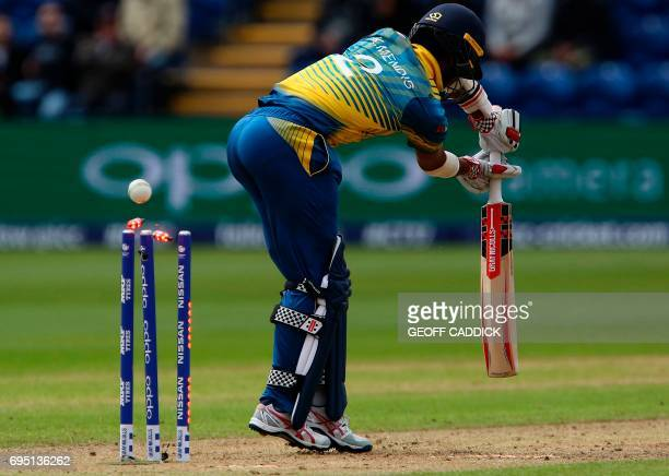 Bails fly as Sri Lanka's Kusal Mendis loses his wicket for 27 runs during the ICC Champions Trophy match between Sri Lanka and Pakistan in Cardiff on...