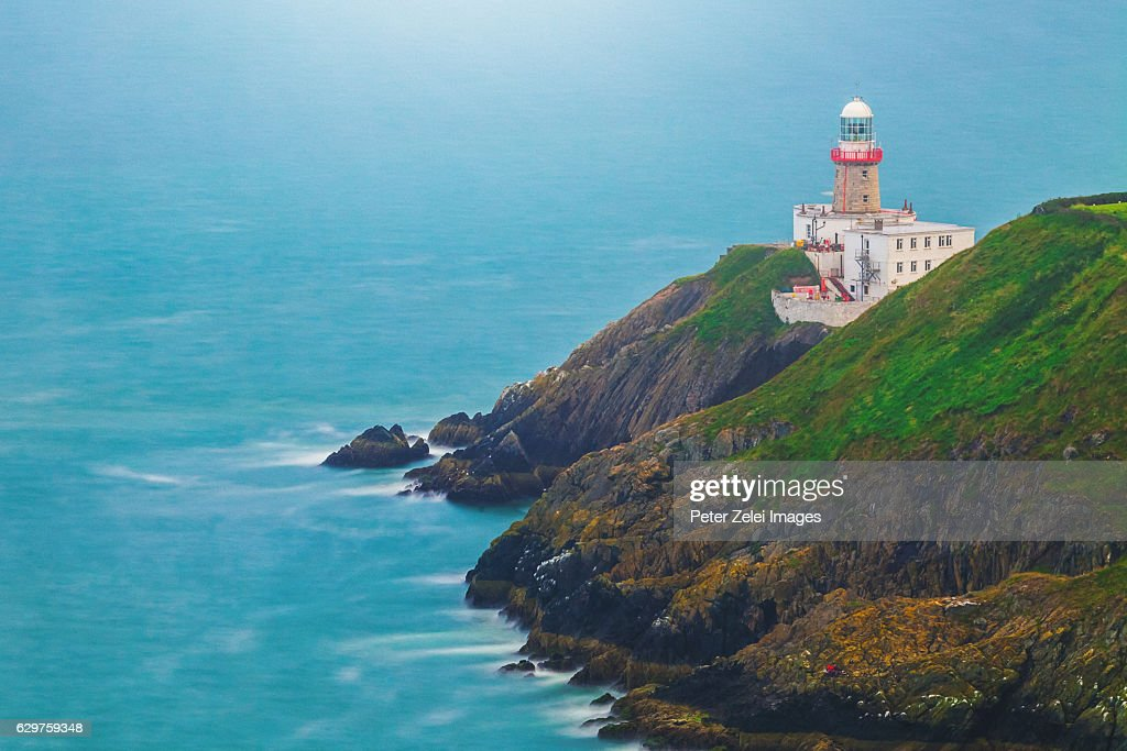 Baily Lighthouse on the southeastern part of Howth Head in Dublin, Ireland. : Stock Photo