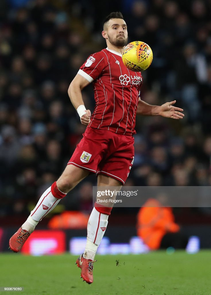 Baily Wright of Bristol City controls the ball during the Sky Bet Championship match between Aston Villa and Bristol City at Villa Park on January 1, 2018 in Birmingham, England.