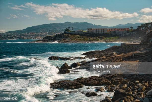 baiona coastline - vigo stock pictures, royalty-free photos & images