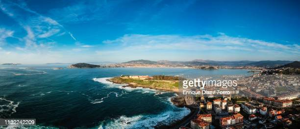 baiona parador and catle of monterreal from the air - vigo stock pictures, royalty-free photos & images