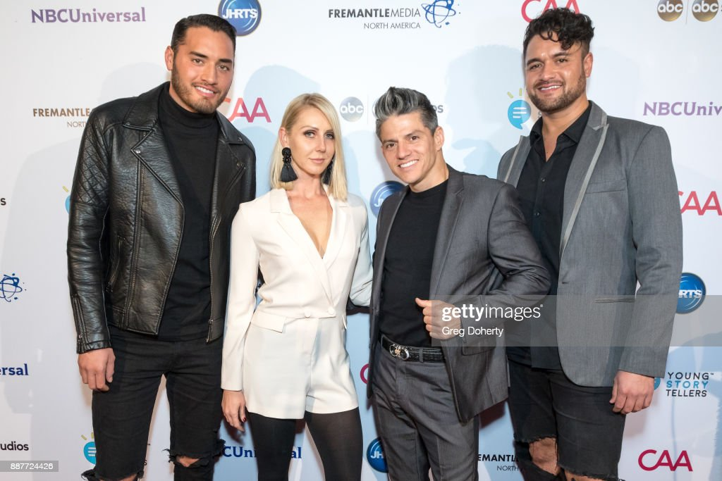 CJ Bair, Patricia Kaniowski, Legacy Perez, and Tony Cuchitel attend The Junior Hollywood Radio & Television Society's 15th Annual Holiday Party at Le Jardin on December 6, 2017 in Hollywood, California.