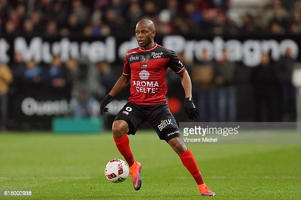 Baissama Sankoh of Guingamp during the Ligue 1 match between EA Guingamp and Lille OCS at Stade du Roudourou on October 15, 2016 in Guingamp, France.