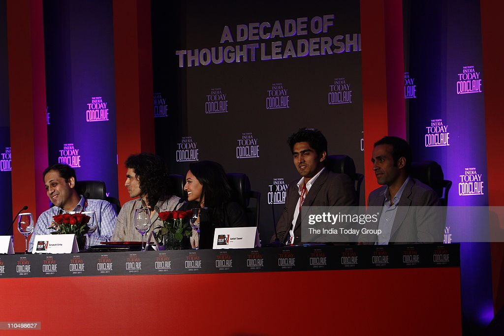Bajaj FinServ Ltd Managing Director Sanjiv Bajaj filmmaker Imtiaz Ali actor Sonakshi Sinha boxer Vijender Singh and author Aatish Taseer during the...