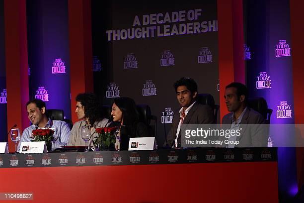 Bajaj FinServ Ltd Managing Director Sanjiv Bajaj filmmaker Imtiaz Ali actor Sonakshi Sinha boxer Vijender Singh and author Aatish Taseer during the...