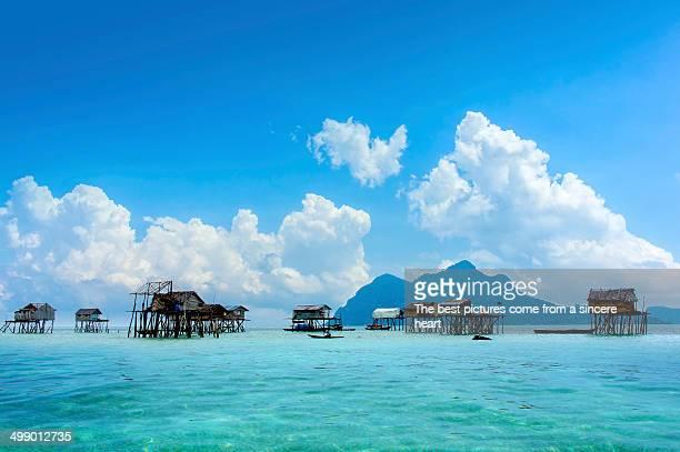 bajau floating village - kota kinabalu stock pictures, royalty-free photos & images