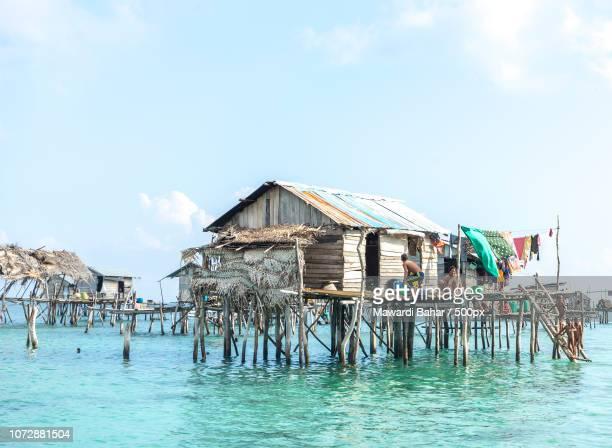 SABAH, MALAYSIA - AUGUST 17, 2016 : Bajau Laut house in Bodgaya Island, Sabah, Malaysia. They lived